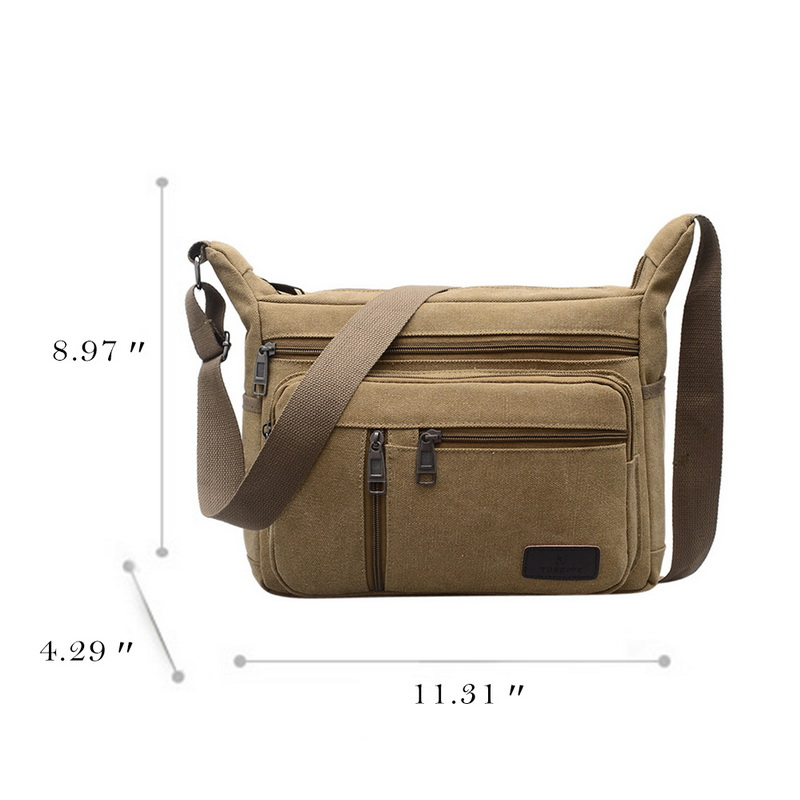 SHUJIN 2019 New Men Fashion Solid Color Multi function Canvas Shoulder Bags Multi Pockets Crossbody Large Capacity Message Bag