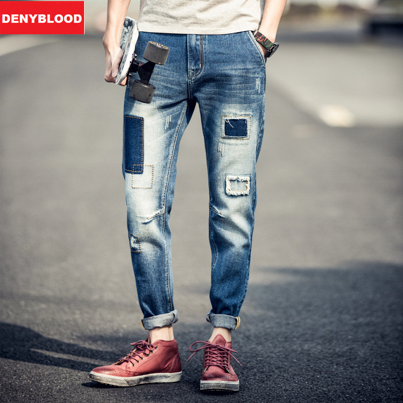Online Shop 2016 New Fashion Men`s Distressed Jeans With Holes ...