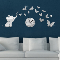 Baby Elephant And Butterflies Art Mordern Luxury Design DIY 3D Crystal Mirror Wall Clock Wall Sticker