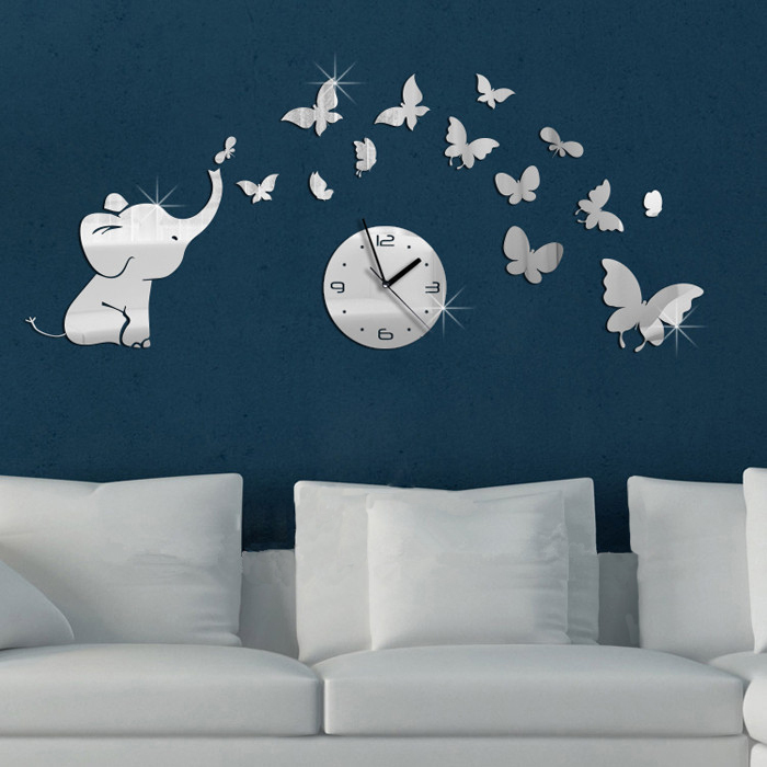 Baby Elephant and Butterflies Art Mordern Luxury Design DIY 3D Crystal  Mirror Wall Clock Wall Sticker. Popular Baby Room Clock Buy Cheap Baby Room Clock lots from China