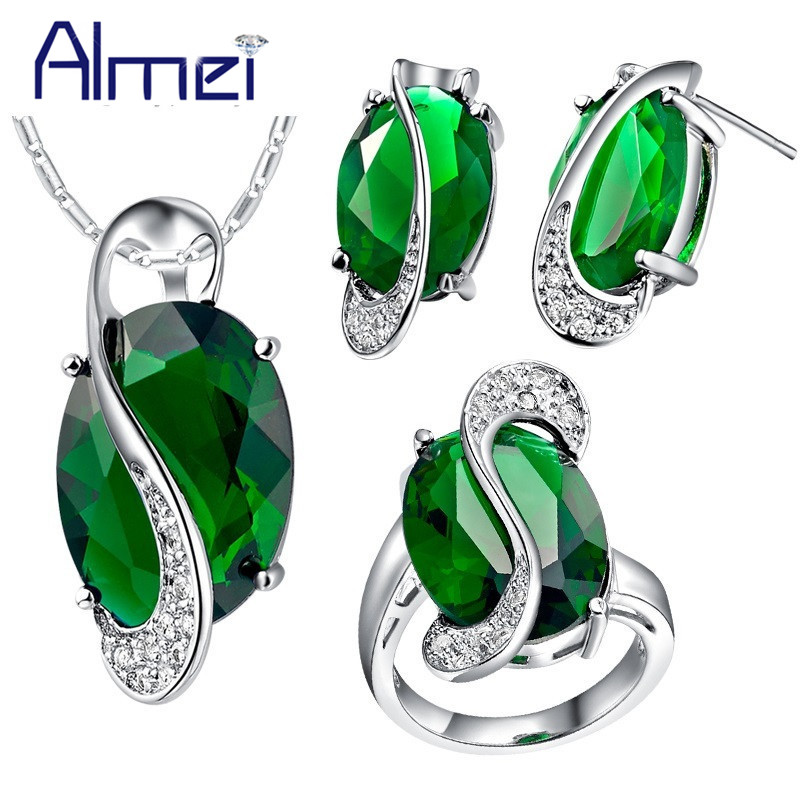 Almei 35%Off Fashion Blue Crystal Jewerly Sets for Women Silver Color Wedding Accessories Necklace Set Earrings Green Rings T155 women s fashionable peafowl style crystal inlaid necklace earrings jewel set blue silver