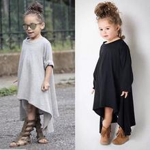 Baby Girl Autumn Dress Max Batwing Loose Asymmetric Long Sleeve Girl Dress For Kids Costume Casual Black and Gray Free Shipping