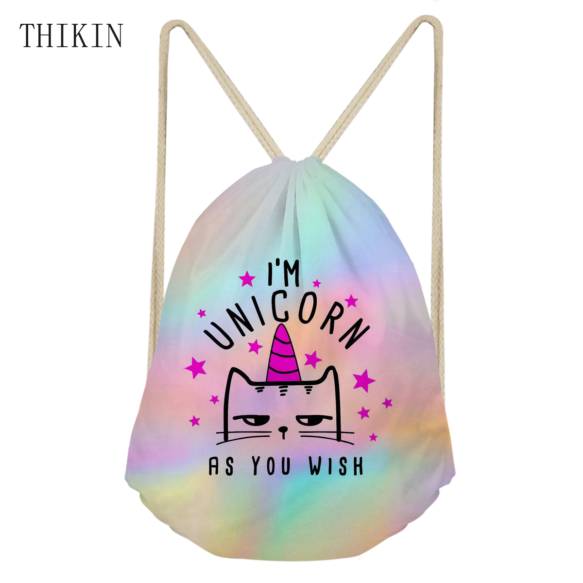 THIKIN Swim Bags Hot Sale Rainbow Unicron Print School Backpack Women Luminous Draw-string Bag Outdoor Sports For Teenagers