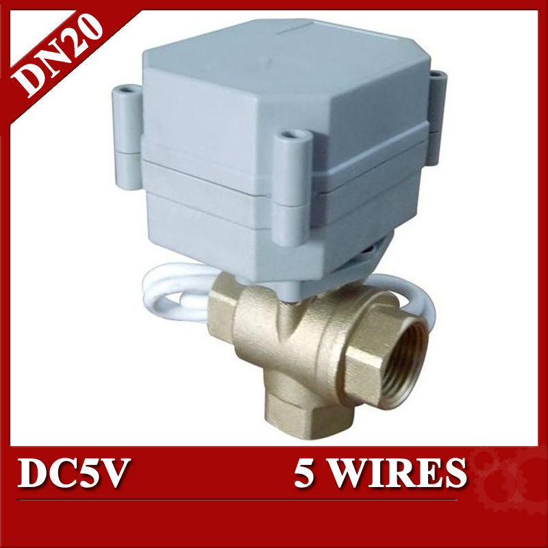 ФОТО mini 3 way motorised ball valve 5 volt 5 wires T type T20-B3-A for solar heating water control equipment HVAC fan coil
