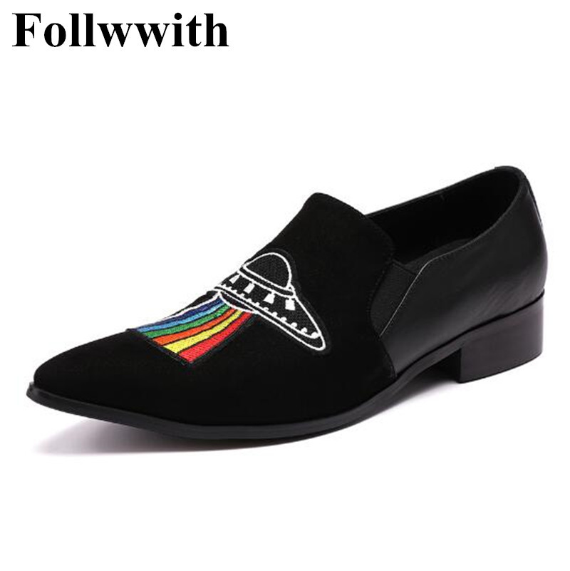 2018 Follwwith Luxury Brand Flats Embroider Black Suede Slippers Smoking Men Loafers Slip On Plus Size 46 Casual Shoes Men