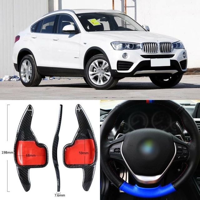 $ 102.45 Carbon Fiber Gear DSG Steering Wheel Paddle Shifter Cover Fit For BMW X4 2013-2017