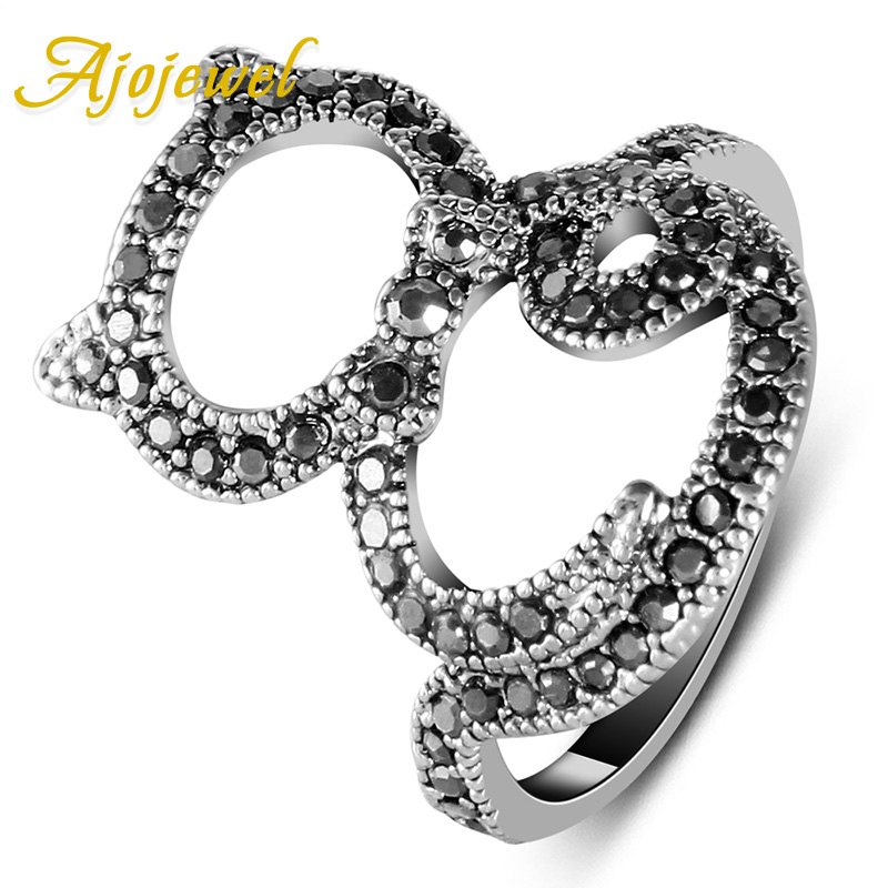 Vintage Style Pave CZ Cat Ring Women Black Animal Jewelry Special Design Ajojewel Brand
