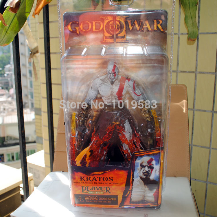 3pcs/lot Wholesale Brand New Game Action Figure Toys God Of War Kratos With Flaming Blades 21cm PVC Action Figure Model Toy