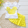 Summer girl clothing baby kids clothes sets T-shirt+chifffon pants 2 pcs set white/black color