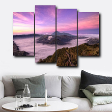 Laeacco 4 Panel Sea Sunrise Posters and Prints Wall Art Canvas Calligraphy Painting Nordic Home Living Room Decoration