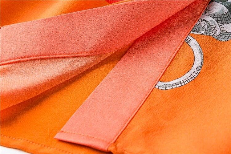 Женское платье с коротким рукавом Mifairy, оранжевое ТРАПЕЦИЕВИДНОЕ ПЛАТЬЕ с принтом, модель 110802 - 5