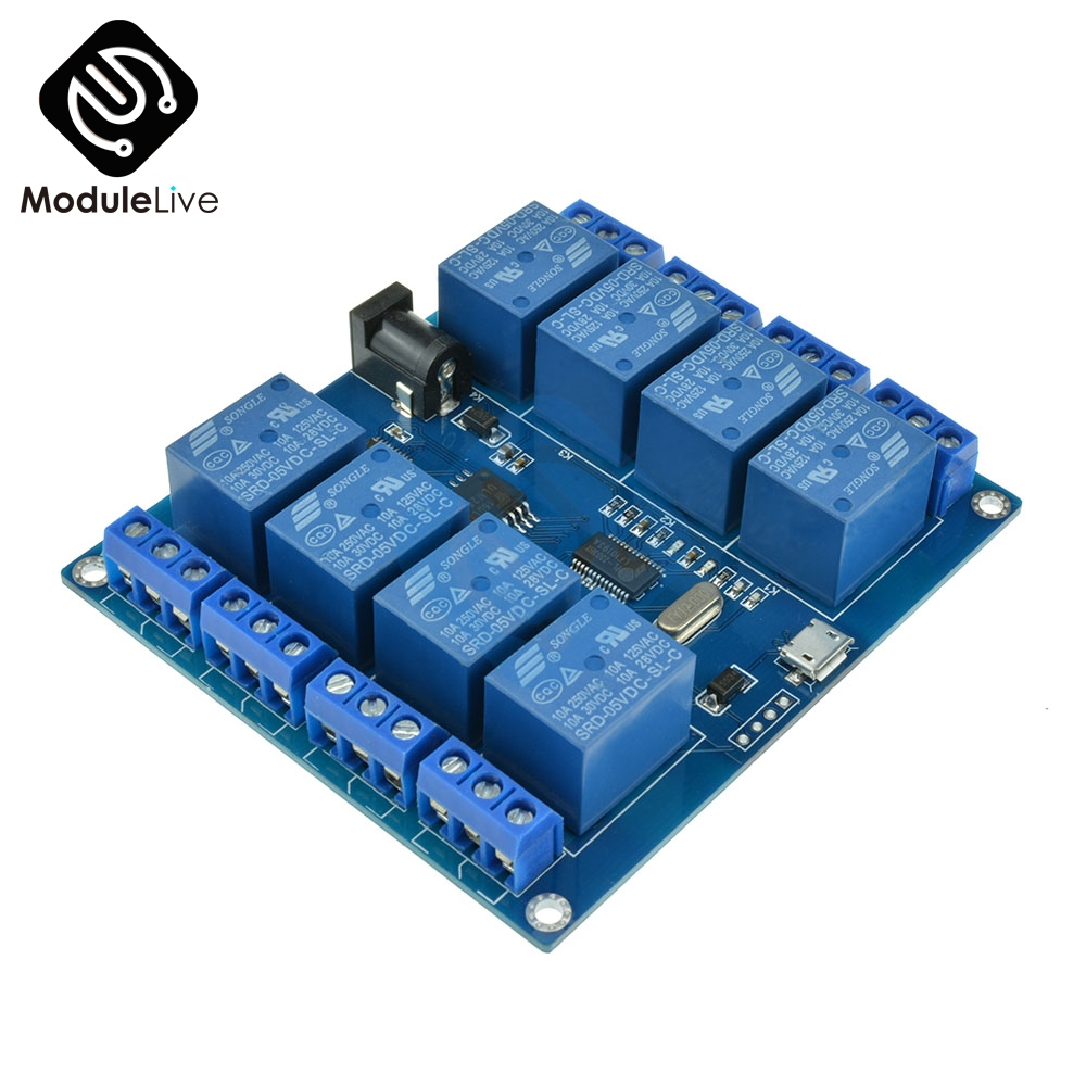 1Pcs DC 5V 10A 8 Channel Micro USB Relay Indicator Board Module PC Upper Computer ICSE014A Software Control1Pcs DC 5V 10A 8 Channel Micro USB Relay Indicator Board Module PC Upper Computer ICSE014A Software Control
