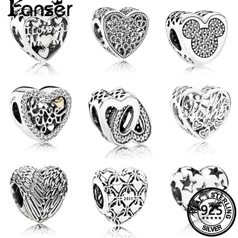 FANSER ретро DIY сердце из бисера PANDOR серии шпинель S925 чистого серебра Оригинал имеет логотип и подходит Бусины Очарование Для женщин ювелирные ...