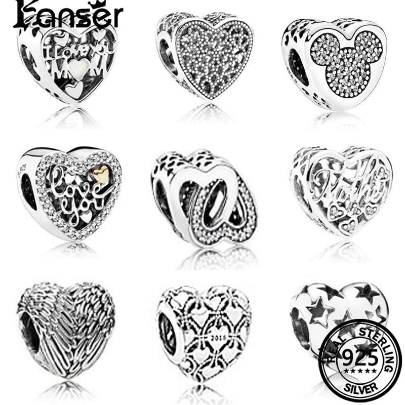 FANSER Retro DIY Heart Bead PANDOR Series Spinel S925 Pure Silver Original Copy Has Logo & Suitable Beads Charm Women Jewelry