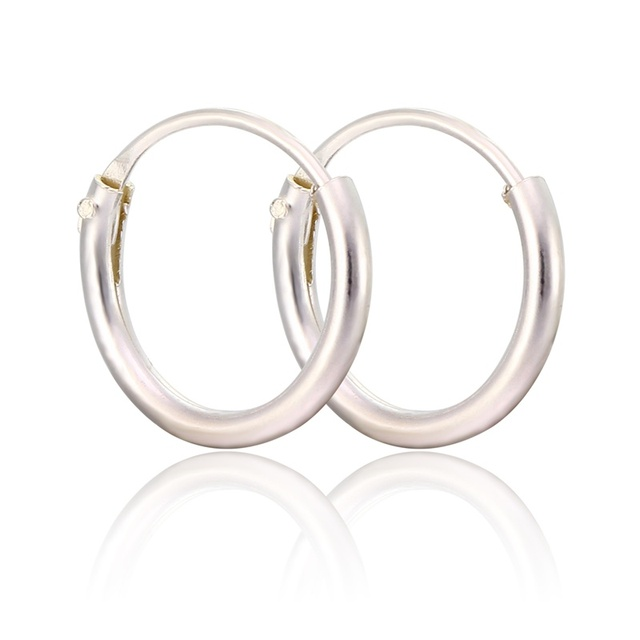 Slim Real 925 Sterling Silver Small Circle Round Loop Hoop Earrings For Women Children Baby