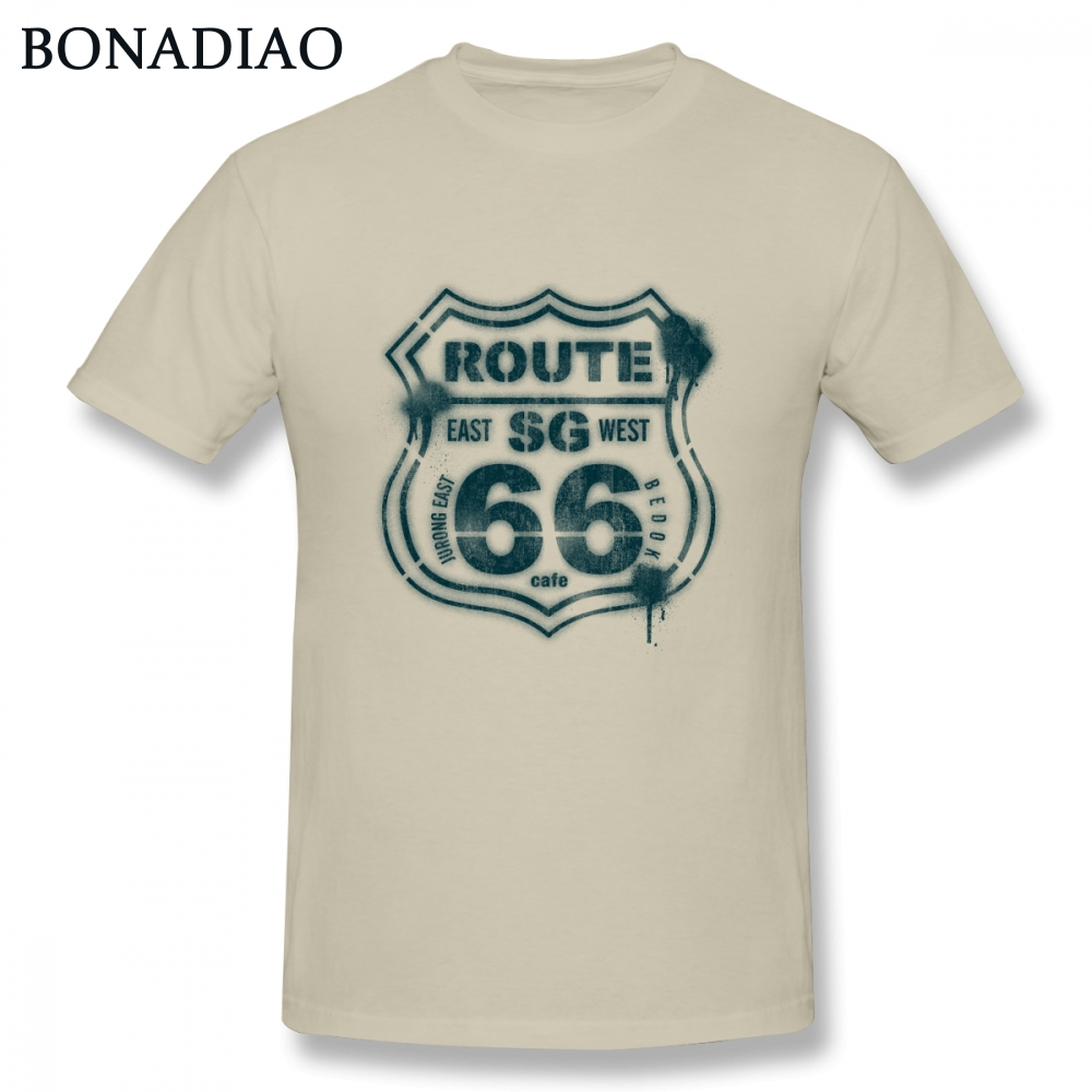 <font><b>Route</b></font> <font><b>66</b></font> Road <font><b>T</b></font> <font><b>Shirt</b></font> Male Graphic Print Homme Tee <font><b>Shirt</b></font> Casual Top design New Arrival image