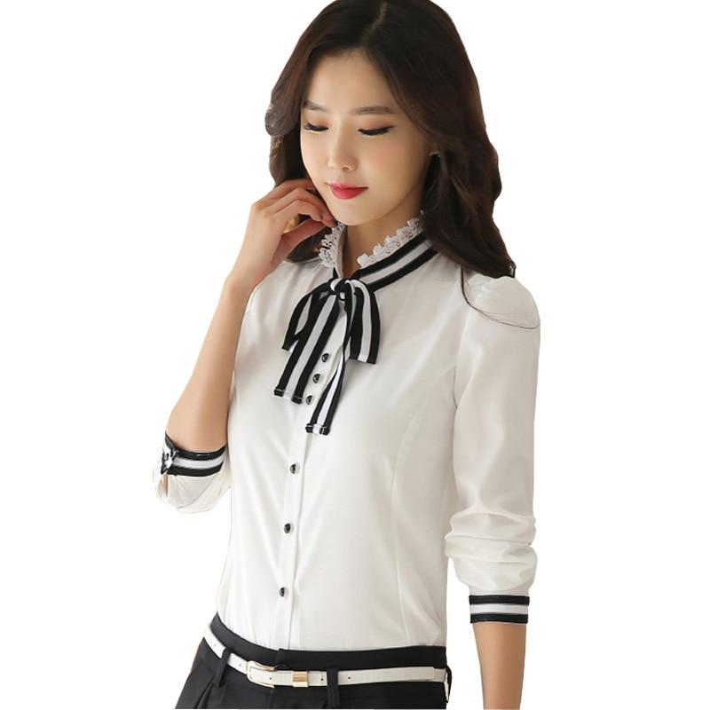 Nová korejská dámská bílá šifonová halenka plus velikost S-2XL s dlouhým rukávem kancelářský oděv 2016 krajka límec ženy módní košile