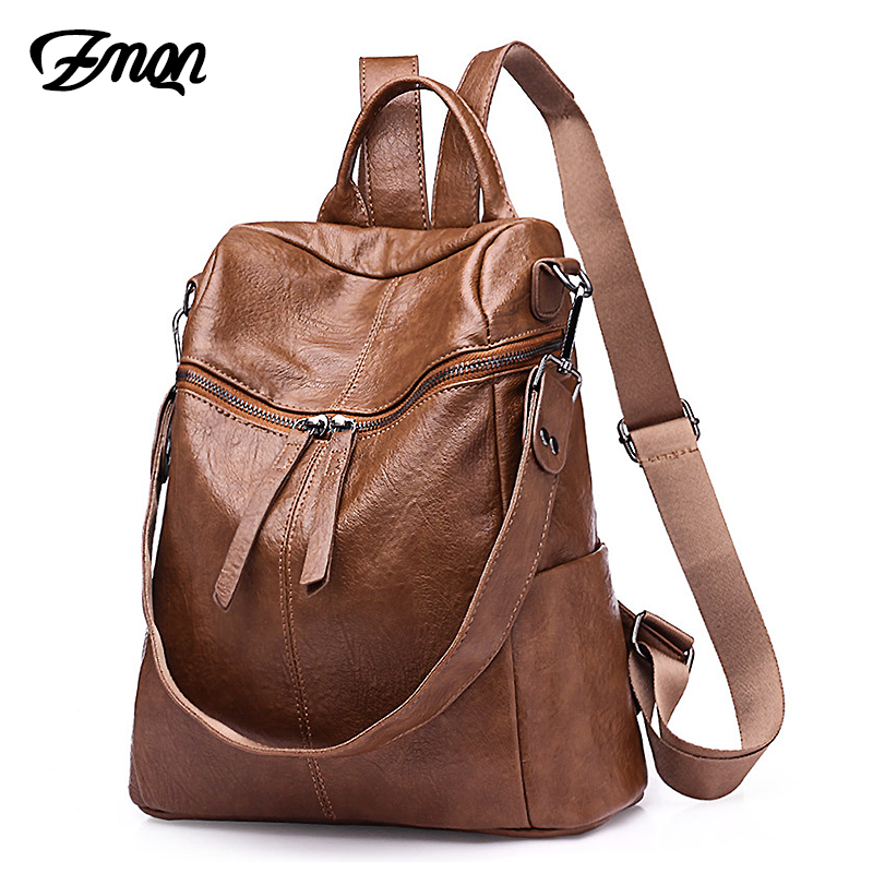 ZMQN Women Backpack 2019 Casual Bagpack PU Leather Women Bags Ladies School Backpack Mochila Mujer Shoulder Travel Bookbag C110