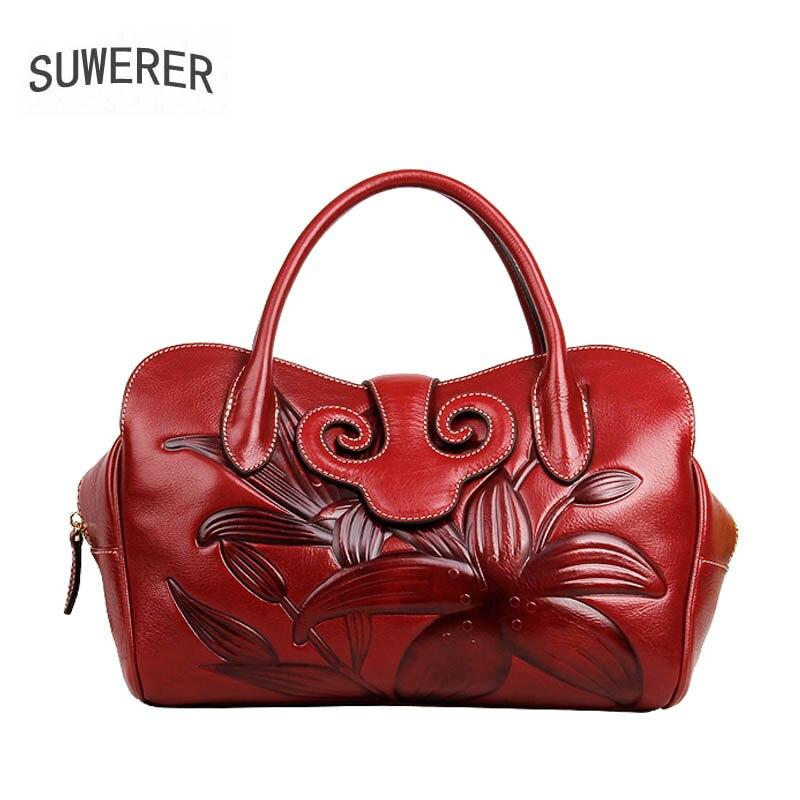 SUWERER 2019 Nuovo delle donne del cuoio genuino del sacchetto famoso di marca Fatti A Mano Goffratura del fiore di modo della pelle bovina borse da donna in pelle di arte borsa