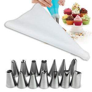 Image 5 - 新しい16ピース/セット菓子バッグとノズルアイシング配管ヒントステンレス鋼ケーキデコレーションツールペストためのベーキング