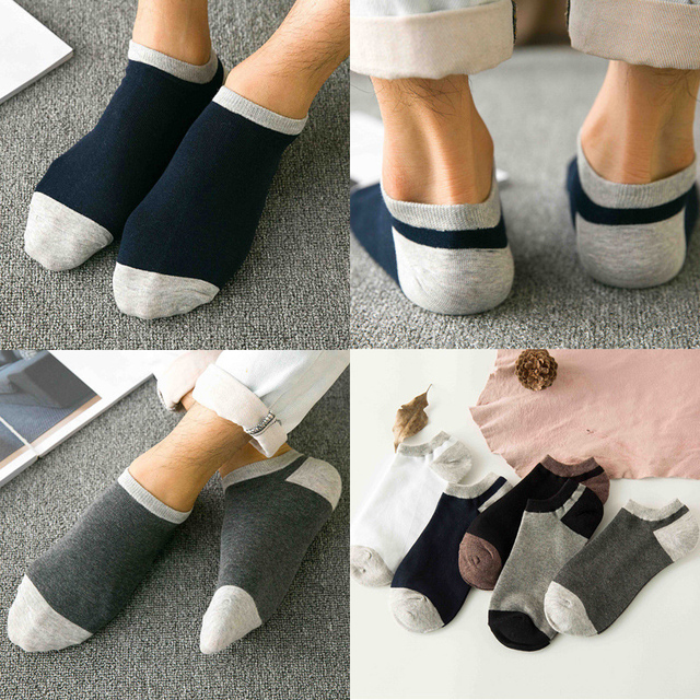 LNRRABC High Quality 1Pair 2018 New Arrival Free Size Elasticity Cotton Socks Comfortable Soft No Show Ankle Socks For Men