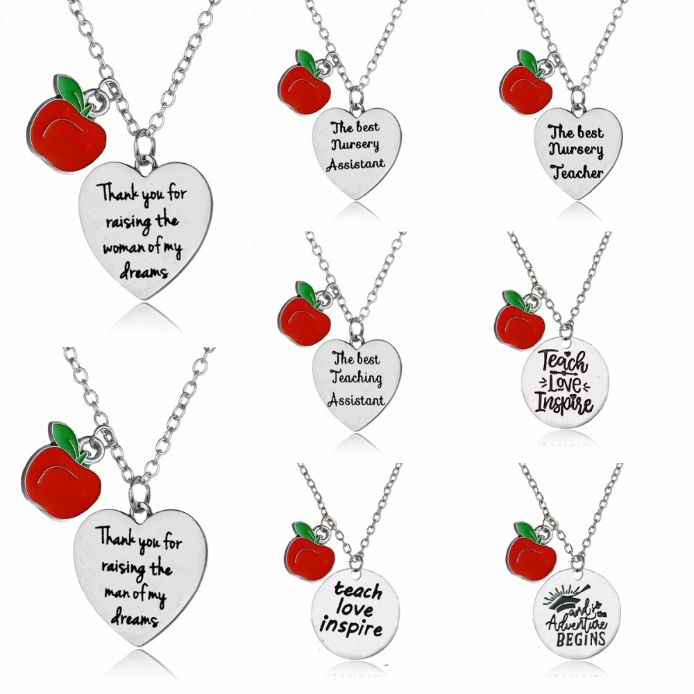 Love Heart Apple Charm Pendant Chain Necklace For Thank You Teacher Teaching Assistant Nursery Teacher Necklaces Jewelry Gifts