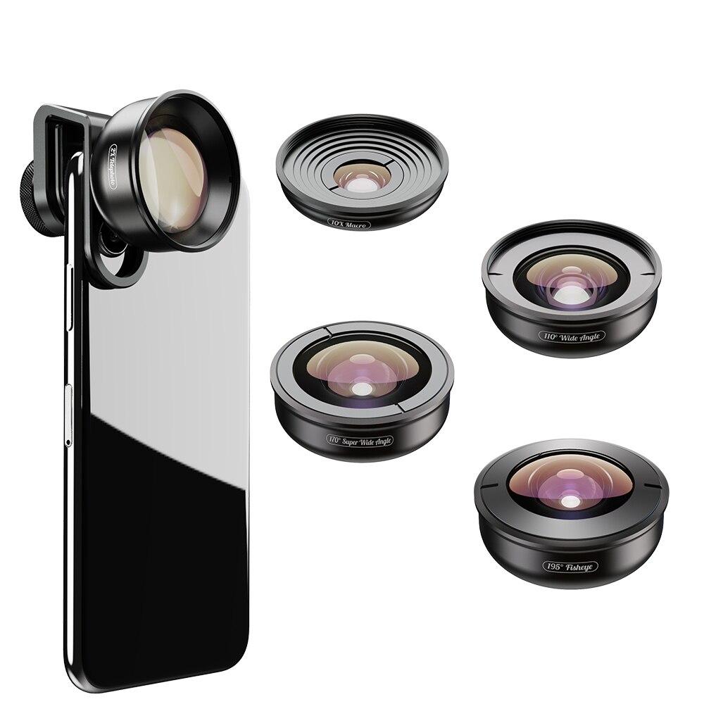 APEXEL 5in1 kit d'objectifs pour téléphone Mobile Pro Photographie HD Fisheye Super grand-angle macro lentilles de télescope pour Samsung iPhone Xs Compagnon