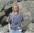 Ти Топы Новое Лето Женщины Футболки Свободные Harajuku Blue Orange Полосой Карманный Коротким T-Shirt Шорты Рукава Оригинальный Свободно Мило