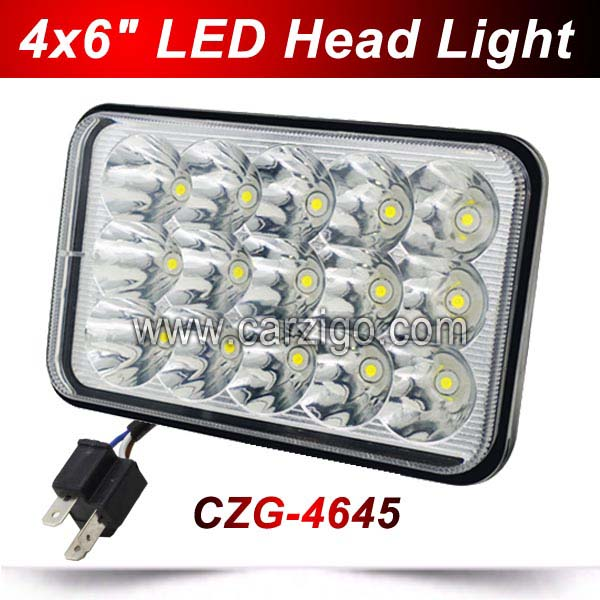 CZG-4645 LED 5 square 4x6 LED headlight with low/ hi beam 45w LED driving light led head work lamps for trucks Traillers cars czg 5755 55w led high power 5x7 led headlight with hi low beam angel eye for jeep trucks offroad 7 led work head lamps e9 mark