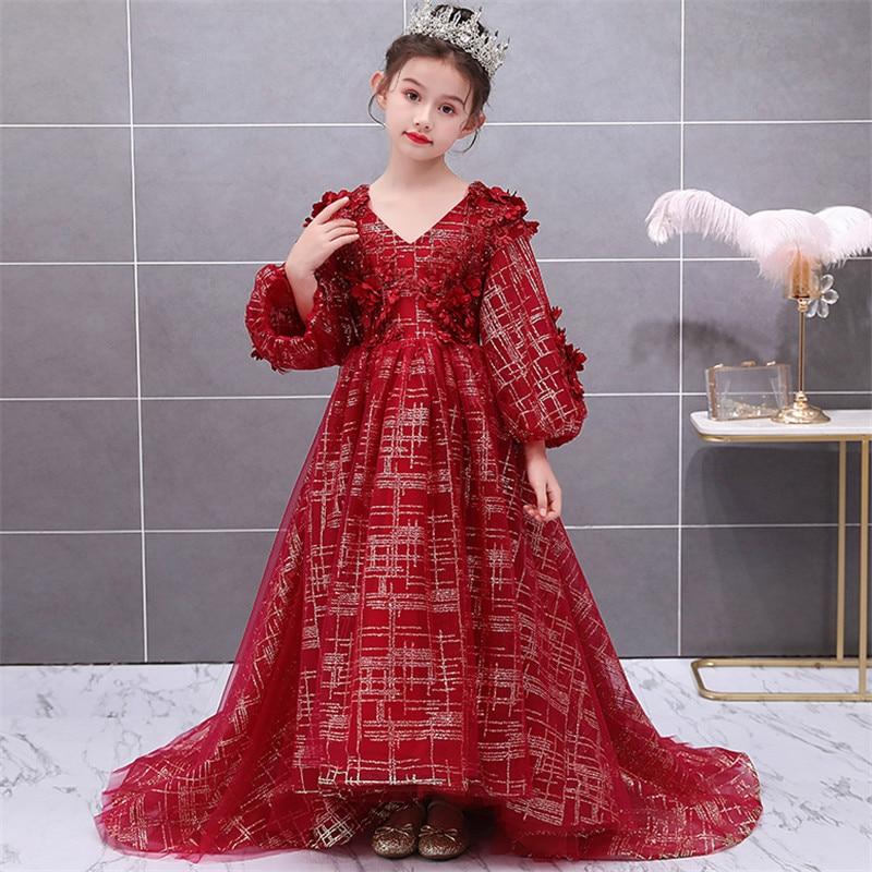 Niños Niñas de alto grado exquisito fiesta de noche modelo Show Walking Long Tail vestido niños lujo V Collar Host cumpleaños vestidos