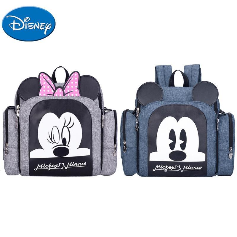 DISNEY Mummy Maternity Nappy Bag Large Capacity Travel Diaper Bag Baby Care Cartoon Mickey Minnie Nappy Organizer Mummy Backpack