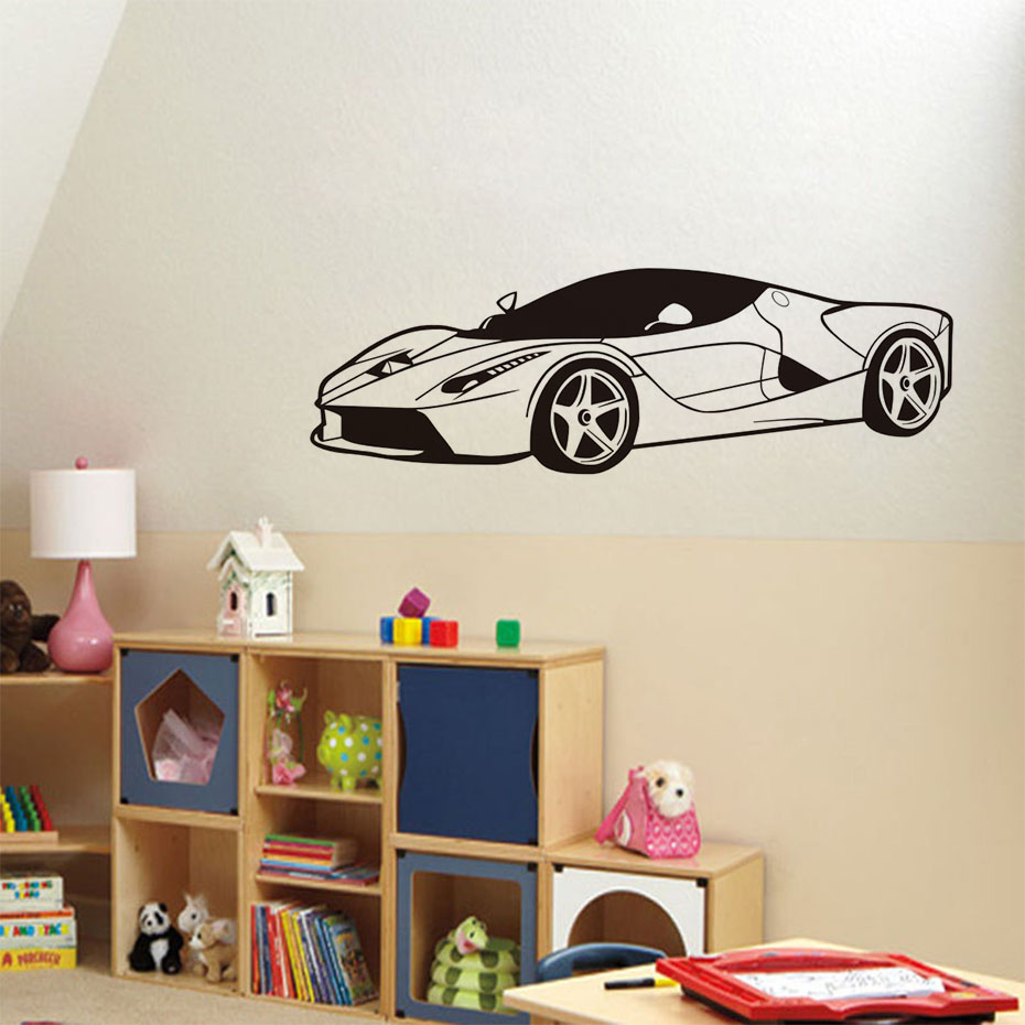Buy cool sports car wall stickers boys for Bedroom wall decor