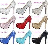 Weiß Silber Gold Champagner Farbe Super High Heel Strass Wunderschöne Brautschuhe Jahrestag Party Schuhe