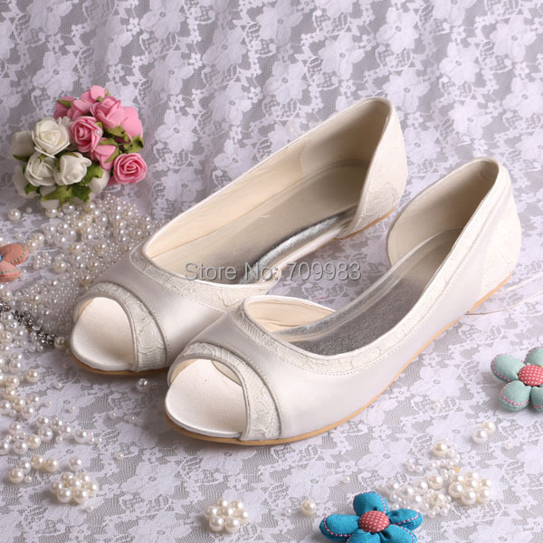 More ColorsMagic Bride New Style Korean Flat Girls Shoes Wedding Ivory Satin Lace