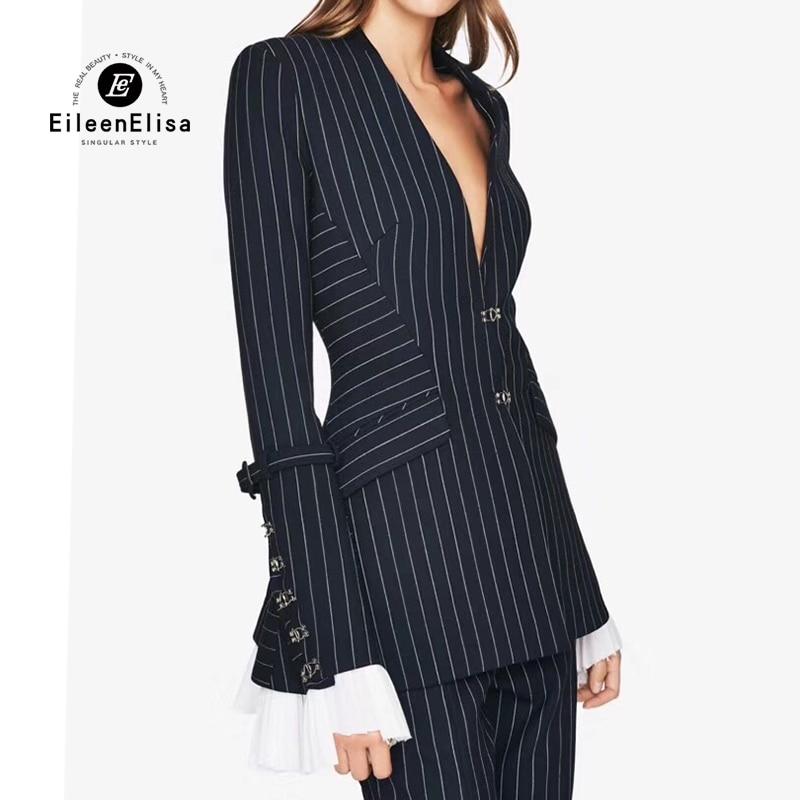 Automne veste femmes manteau col v à manches longues rayé manteau survêtement 2018 nouveau dames de mode de luxe vêtements