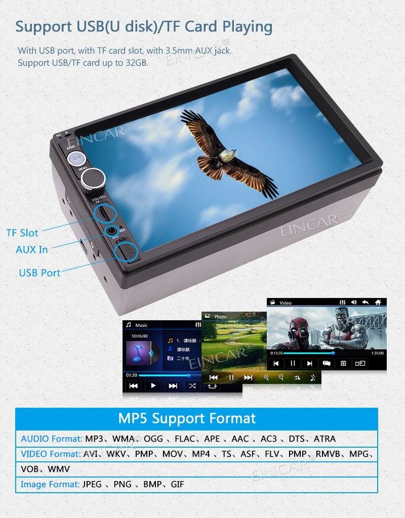 EinCar in Dash Double 7Car MP5 Player USB/SD MP3 MP4 Video Music Playing Aux in Video out Headrests Bluetooth FM+Backup Camera