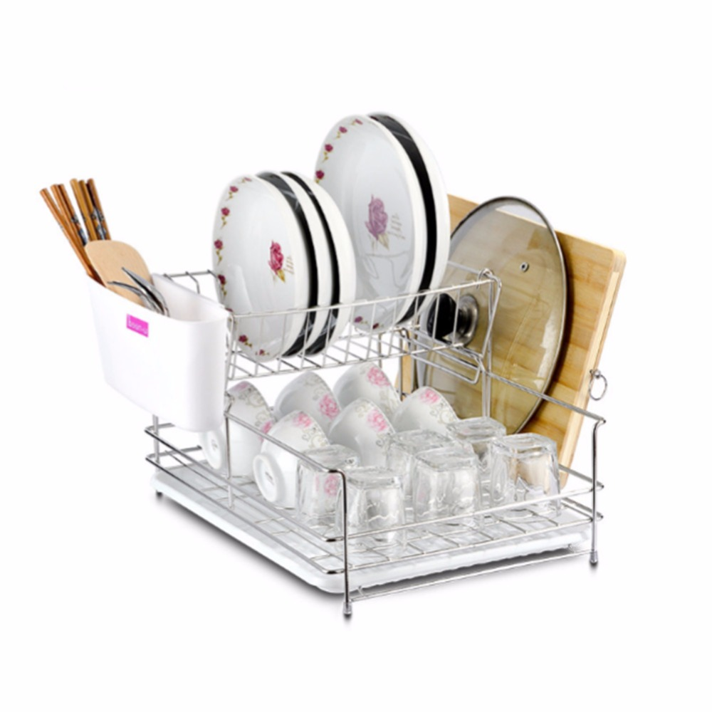 304 Stainless Steel Large Dish Drainer Stand 2 Tiers Plate and Cutlery Rack with Drip Tray  sc 1 st  AliExpress.com & 304 Stainless Steel Large Dish Drainer Stand 2 Tiers Plate and ...