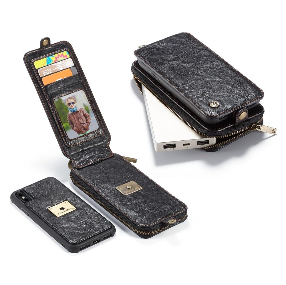 Original CaseMe For Apple iPhone X Case Luxury Vintage Leather EDC Zipper Wallet Card Slots Flip Phone Case Cover For iPhone 10