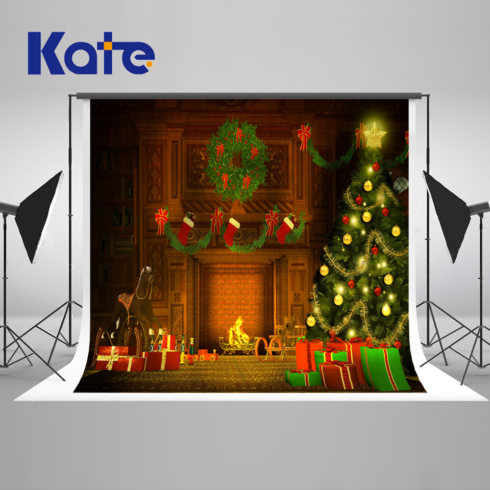 Kate Warmth Indoor Photography Backdrops Christmas Fireplace Christmas Trees Box Sock Photobooth Background Washable Backdrop flame trees of thika