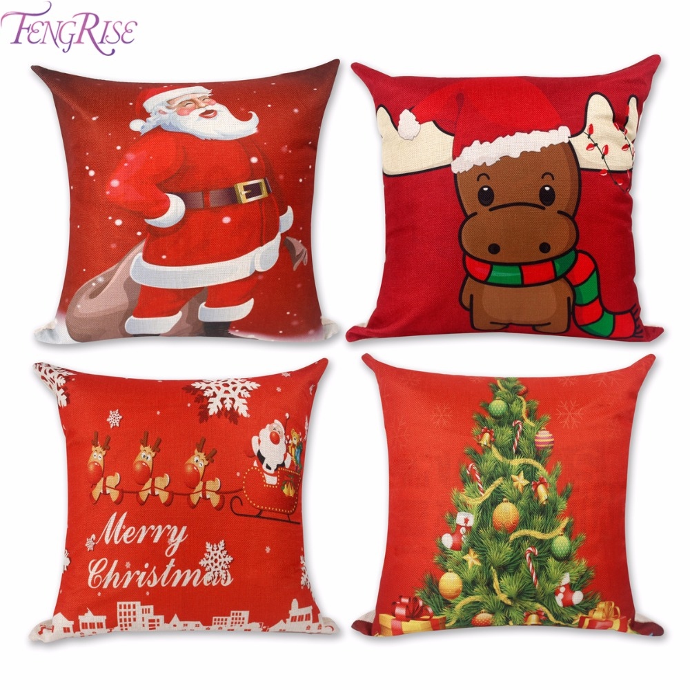 716030a00a83a FENGRISE Merry Christmas Decorations For Home Xmas Pillowcase Santa Claus  45x45cm Reindeer Linen Cover Cushion New