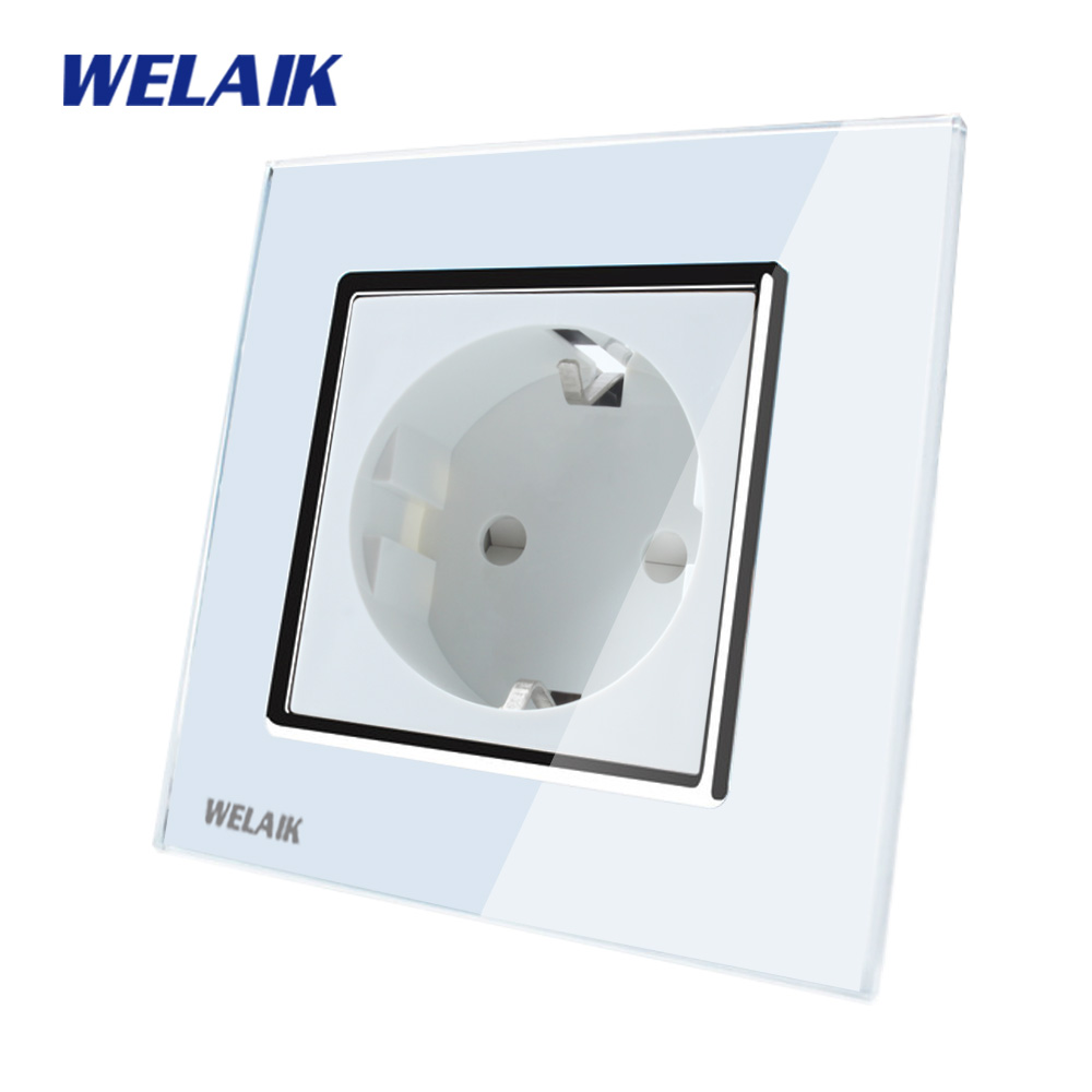 WELAIK EU Wall Socket European Standard Power socket Wall Outlet White Crystal Glass Panel AC 110~250V 16A A18EW smeong 3 socket wall power plate white ac 250v