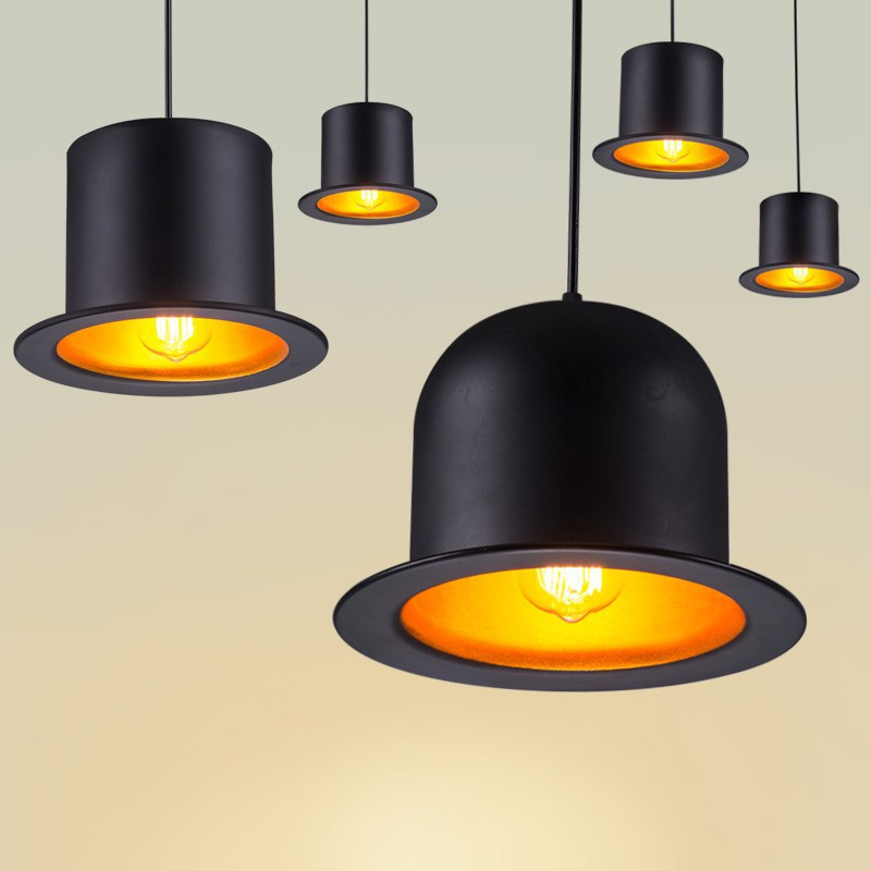 Black Painted Metal Bowler Tall Hats Hallway Pendant Light Modern Corridor  Dining Room Milord Hat Baking Room Pendant Lights