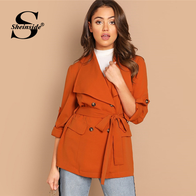 f28463bc53 Sheinside Orange Office Ladies Blazer & Suits Roll Up Sleeve Double  Breasted Coat Belted Outerwear Women Blazers And Jackets