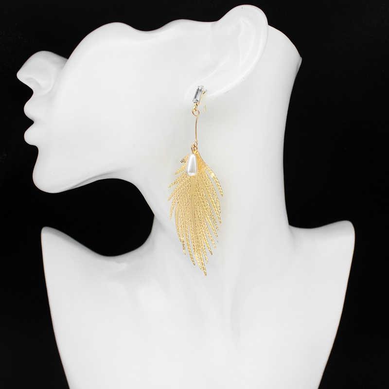 Golden Leaf blade Feather จี้ต่างหูโลหะโลหะผสมเทียมไข่มุก Eardrop แฟชั่นผู้หญิงเครื่องประดับของขวัญคนรัก