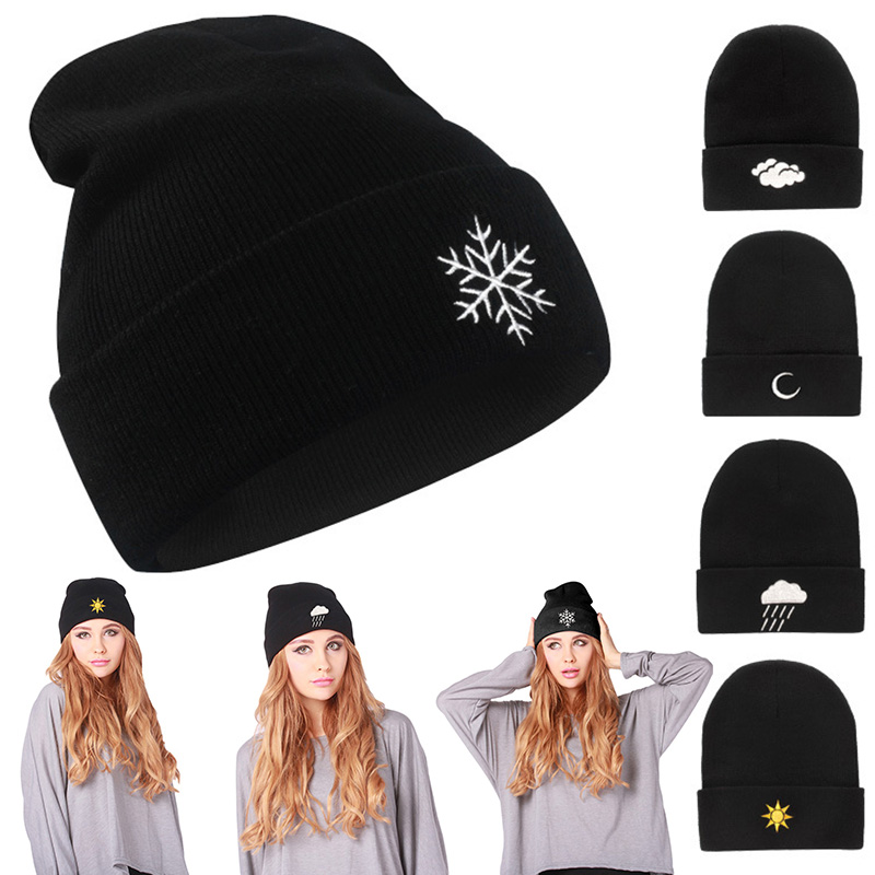 Winter Knitting Warm Hat Raining Sun Star Pattern Daily Slouchy Hats Beanie Cap Outdoor Skiing Caps FS99