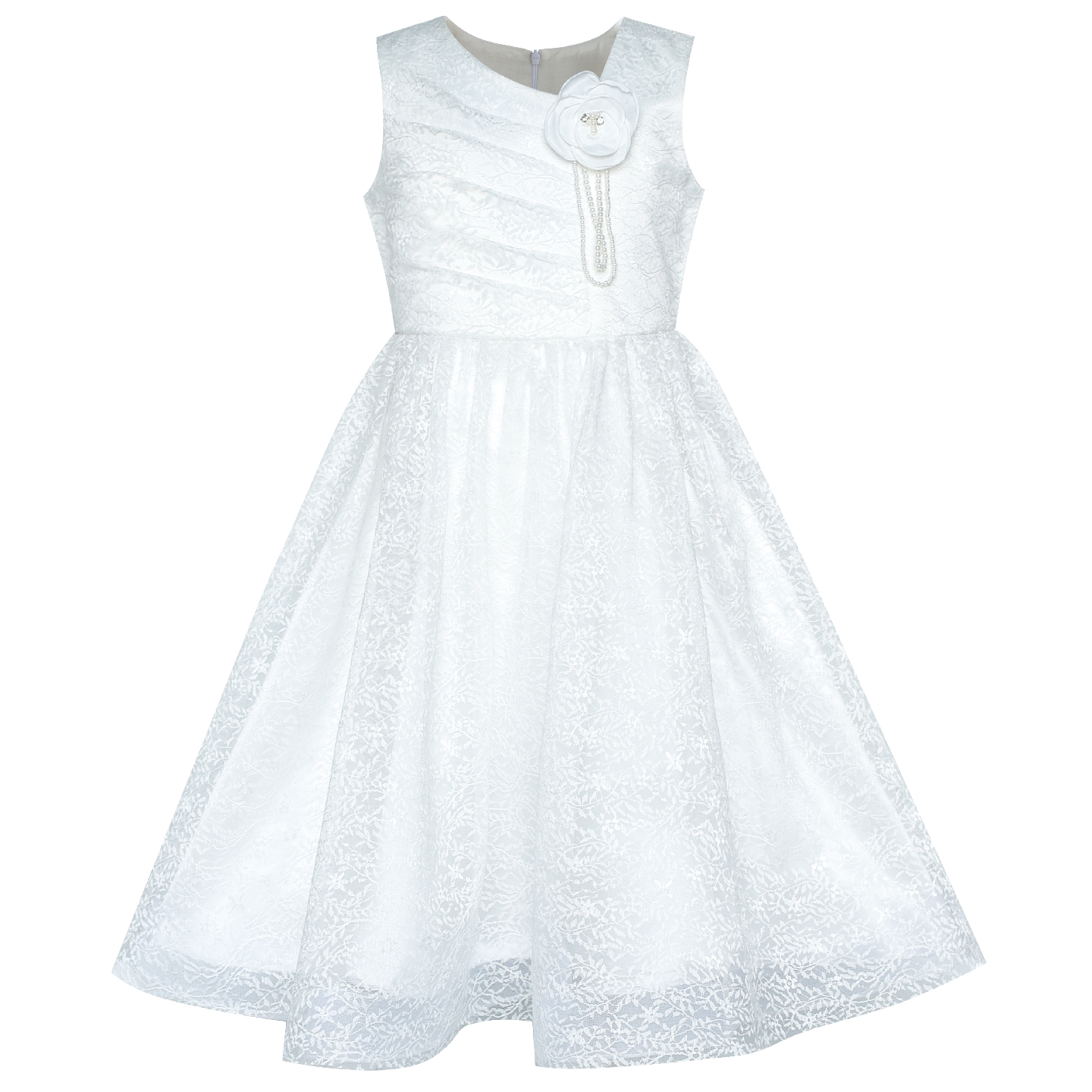 Flower Girl Dress Off White Lace First Communion Wedding Bridesmaid 2019 Summer Princess Party Dresses Children Clothes Pageant flower girl dress lace sequin v neckline pageant wedding 2017 summer princess party dresses children clothes size 4 14 sundress
