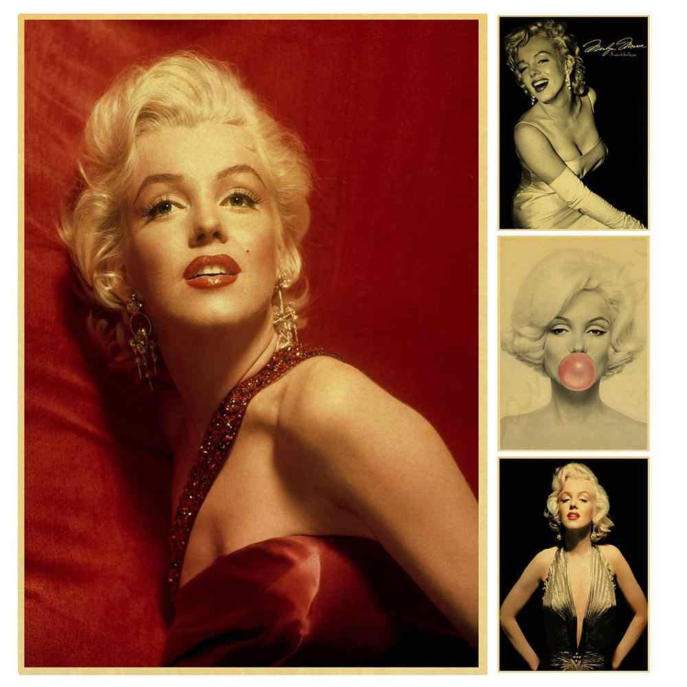 movie actress beauty Marilyn Monroe Retro Poster Vintage poster Wall Decor For Home Bar Cafe