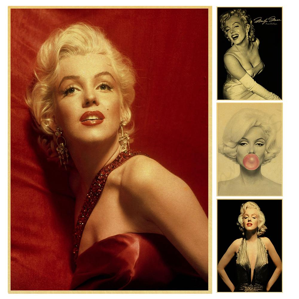 movie actress beauty Marilyn Monroe Retro Poster Vintage poster Wall Decor For Home Bar Cafe image