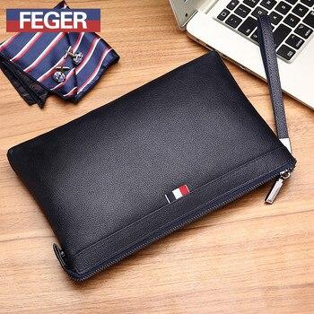 Men Clutch Bag Genuine Leather Purse Cash Wallet Designer Coin Pocket Long Card Holder Vintage Male Wallet Real Cowhide FEGER