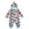 Fox 2017 outono infantil macacão de bebê macacão de bebê recém-nascido menino para meninos meninas moda manga longa bebê menina macacões + chapéu moda